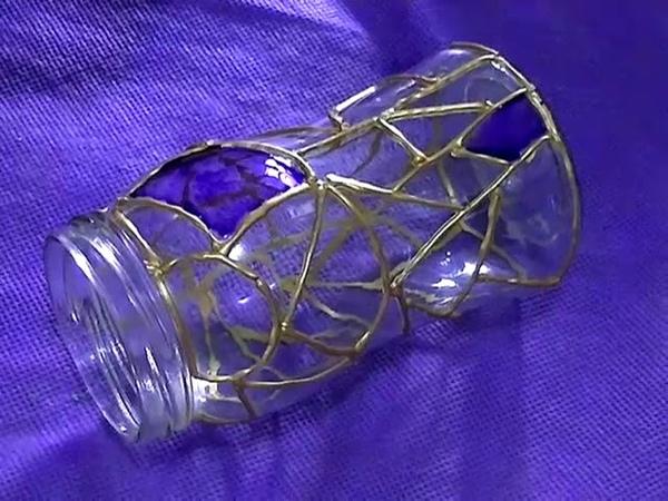 Falso Vitro Pintura en vidrio Resiclando frascos de vidrio