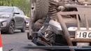 Перекинута автівка у центрі Сум: подробиці ранкової аварії