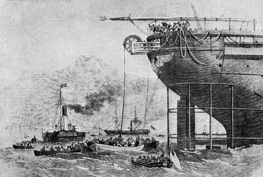 Прокладка  первого телеграфного трансатлантического кабеля.