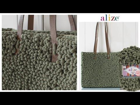 Alize Puffy Fine Kolay ve Kullanışlı Çanta Easy and Useful Bag Tutorial