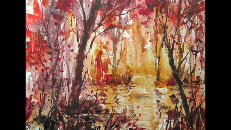 Watercolor 20x speed painting - red forest and lake