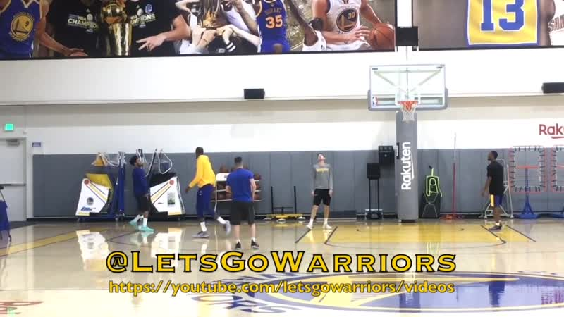 KD (Durant) x Quinn Cook splashing 💦 at Warriors (1-1) practice, day b4 LAC G3, 2019 NBA Playoffs