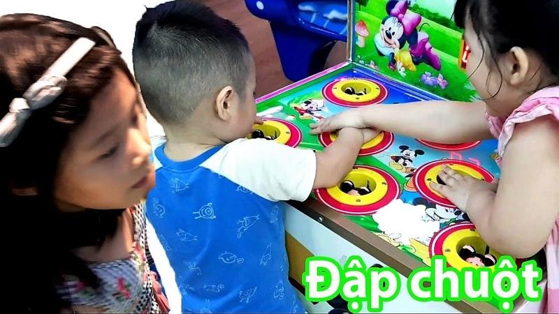 Gia Linh và em Cò chơi đập chuột, chơi nhà bóng, chơi cát khu vui chơi giải trí trẻ em