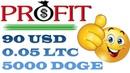 PROFIT - 90 USD   0.05 LTC   5000 DOGE! БОНУСЫ