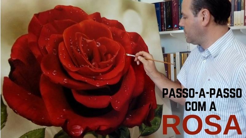 Como pintar uma Rosa Processo de pintura passo a passo