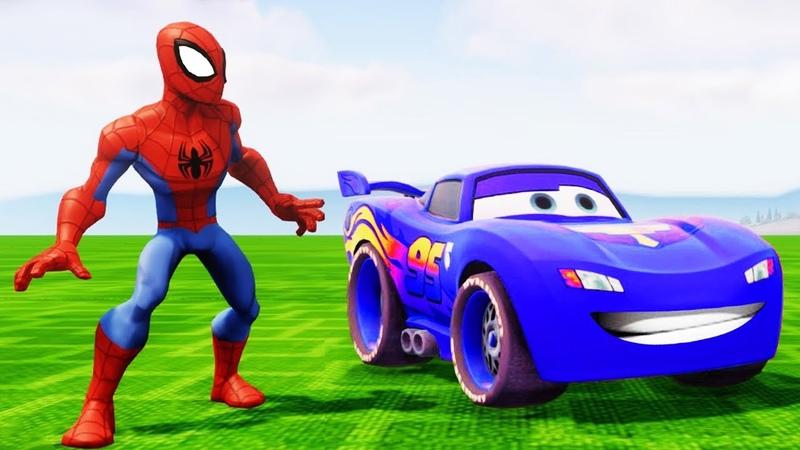 Синий Маквин Тачки 3 Гонки Мультики про Машинки Супергерой Марвел Человек-паук Мультики для Детей