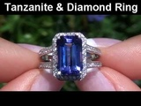Rare Extra Large D-Block Tanzanite &amp Diamond Cocktail Ring Set In Solid 14K Gold Must Be Sold