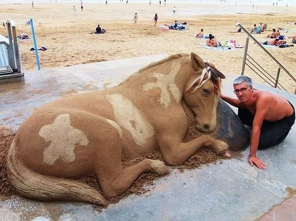 Песчаные животные Испанский скульптор Андони Бастаррика каждое лето создает всех этих удивительных существ из обычного песка. Из хрупкого материала он лепит гиперреалистичных животных.