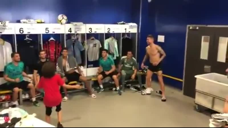 Marcelo Vieiras 8 yr old son practicing headers with his dads team, Real Madrid