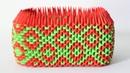 DIY 3D Origami Rectangle Pen Holder Dark Green Red