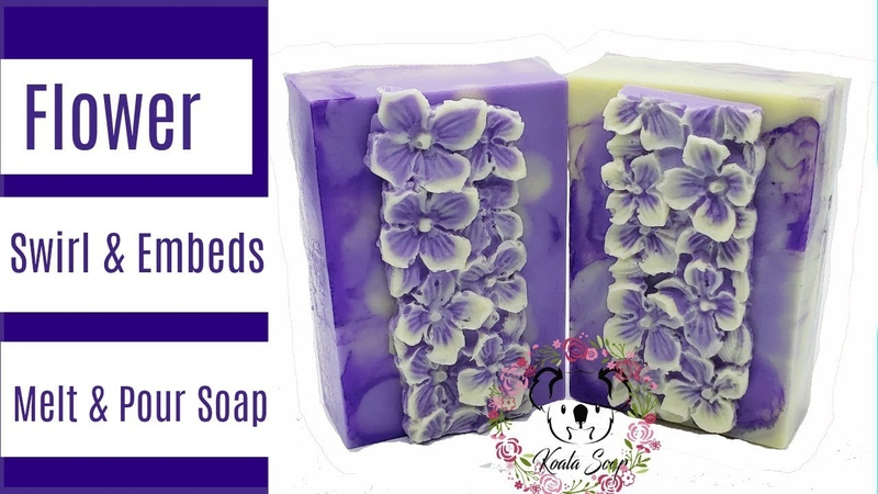 Flower Embeds and Melt and Pour Swirl Soap Tutorial Using Melt and Pour Soap Silicone Mold