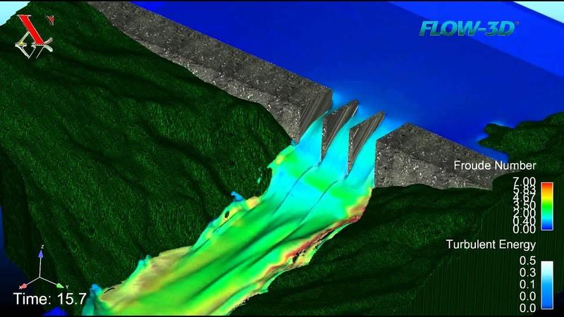 Flow 3D hydraulic simulation Dammed river reservoir draining Flow over a Spillway