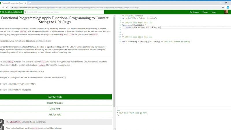 20/23 Functional Programming Apply Functional Programming to Convert Strings to URL Slugs fcc