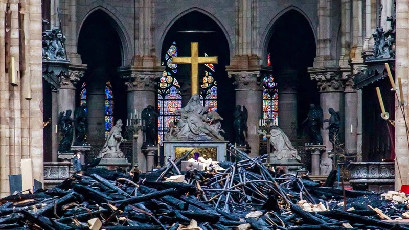 Inside Notre-Dame Cathedral after the fire