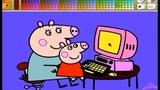 Свинка Пеппа Мультик - Раскраска для Детей . Пеппа и Мама играют в Компьютерные игры