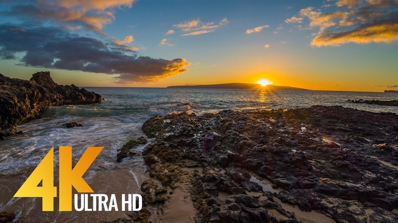 4K Sunset at Polo Beach, Maui Hawaii - Soothing Relaxing Ocean Views and Waves Sound