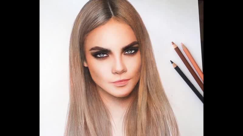Drawing - CARA DELEVINGNE - MARAT_ART - Портрет Кары Делевинь