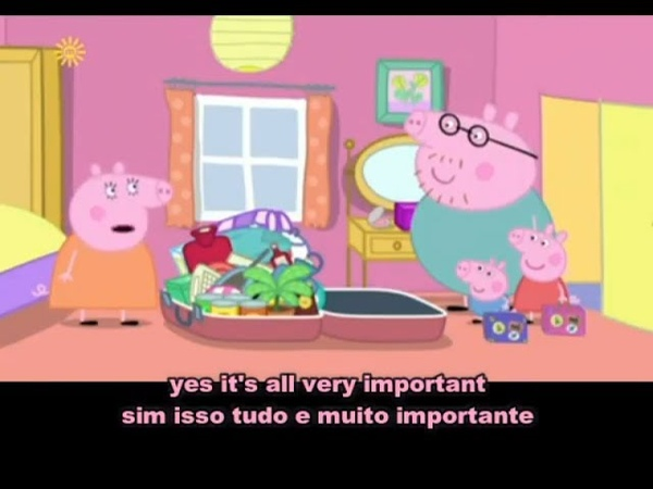 Peppa pig flying on holiday with subtitle english and portuguese