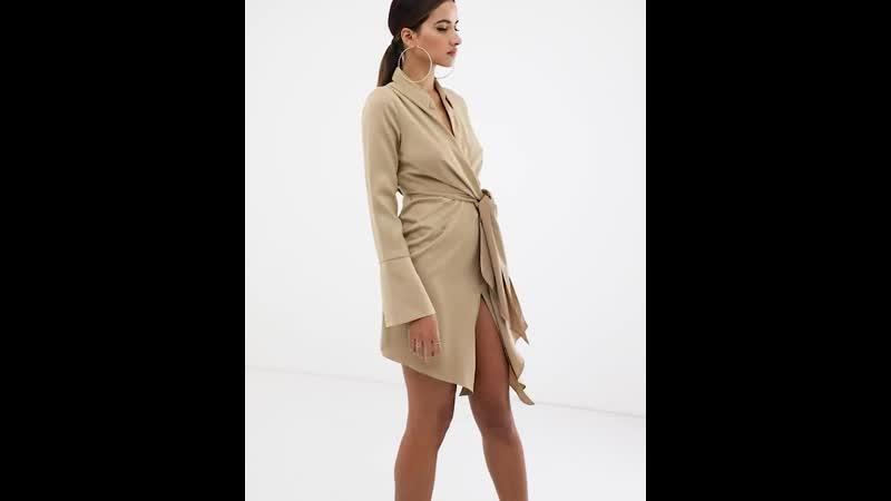 Атласное платье-рубашка мини с завязкой на талии ASOS