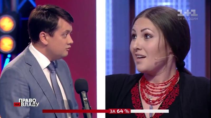 Перепалка Разумкова и Софии Федины в программе право на власть в прямом эфире на 1 1