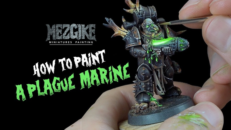 How to paint: Plague Marine with glowing plasma gun by Mezgike