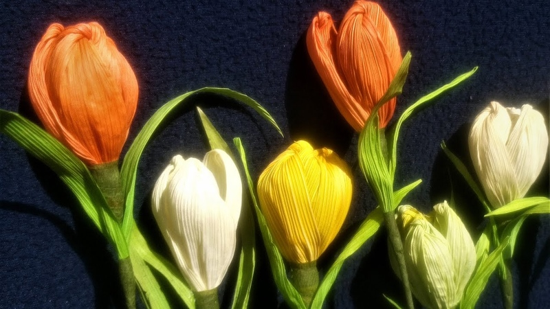 How To Make Flower From Corn Husk Tulip How to make dry flowers at home