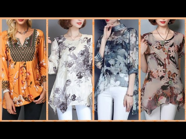 Top 60 most papulR and trending printed shiffon blouse collection 2019 party wear and casual wear