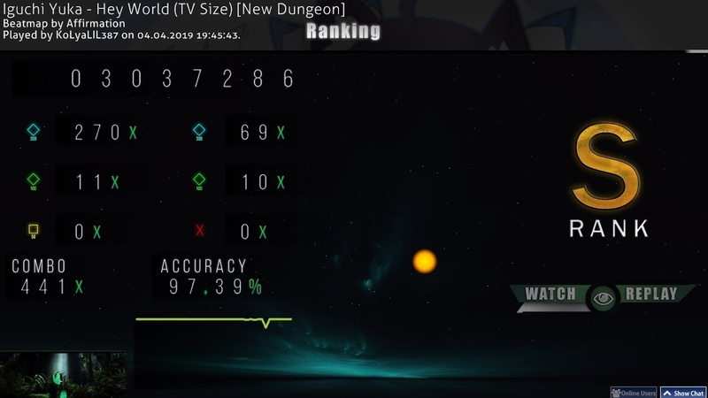 Osu Iguchi Yuka Hey World TV Size New Dungeon лучший скор на 04 04 2019 177РР 10 на гатари