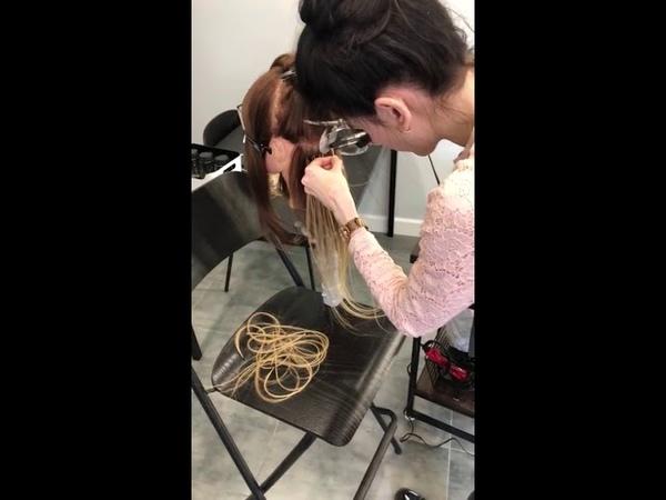 Тренировка наращиванию волос на голове манекене HairyHead
