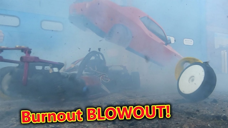 Dodge Hellcat RC Car Burnout FAIL - Massive Blowout