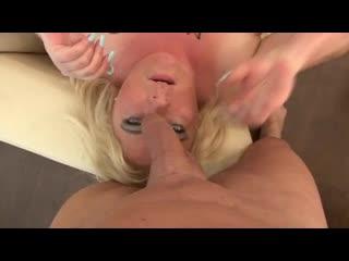 Blonde milf sucking soft dick pov
