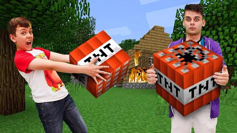 Летсплей Minecraft Зачем Нубу тнт в Майнкрафт деревне Видео обзор игры в шоу Кубик Нубика