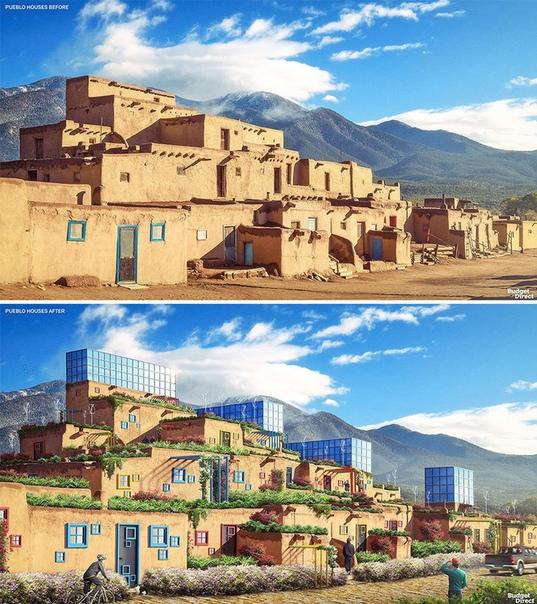 Графические дизайнеры переделали старые дома со всего мира на современный лад Когда люди только начинали строить себе жилье, его архитектура разрабатывалась в соответствии с основными жизненно