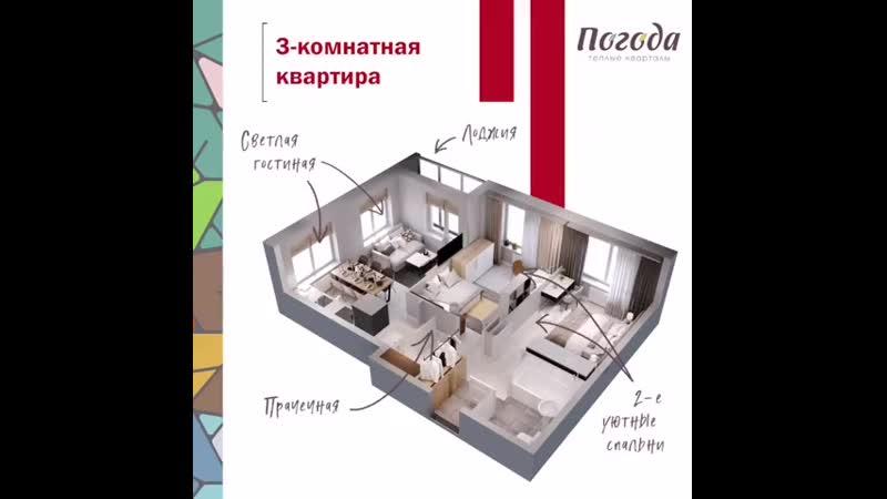 White check mark Большая квартира для тех кто любит много света sunny Евротрёшка с просторной кухн 750 X 750 mp4