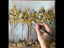 Drawing golden trees/ easy and fast equipment / Acrylic and palette knife on canvas by Julia Kotenko