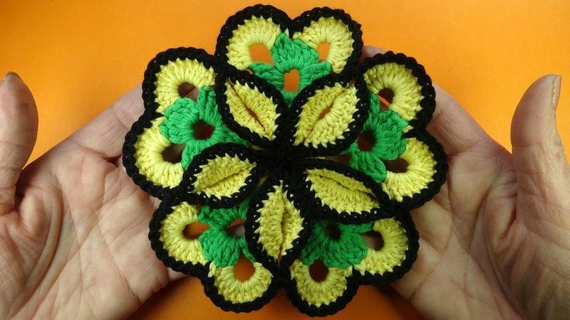 ОГРОМНЫЙ цветок крючком Crochet flower pattern