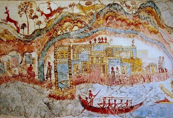 ВОССТАВШИЙ ИЗ ПЕПЛА История Санторина началась восемнадцать тысяч лет назад, когда в южной части Эгейского моря родился новый вулкан. О своем появлении на свет он «оповестил» Средиземноморье