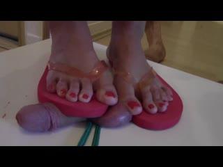 Goddes jane flip flops cock crush / foot fetish