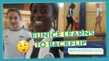 Eunice learns how to BACKFLIP for new football goal celebration! #WePlayStrong Ep10