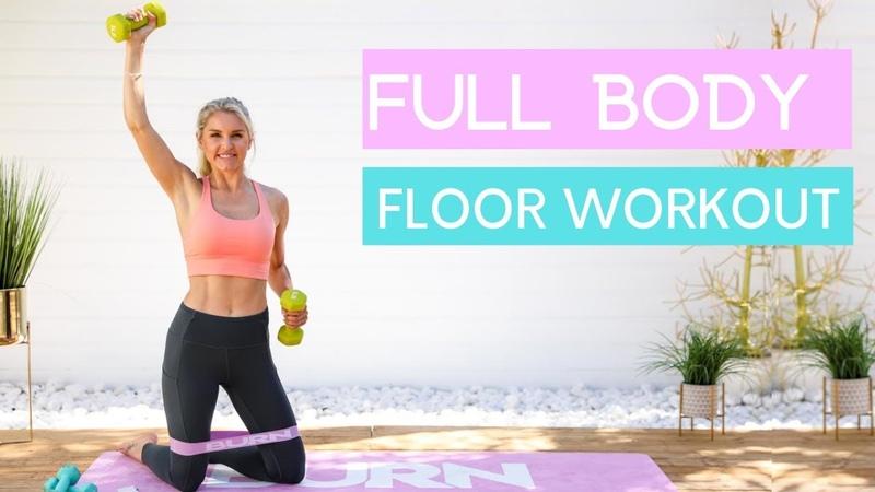 Rebecca Louise Full Body on the Floor Тренировка всего тела с гантелями и фитнес резинкой