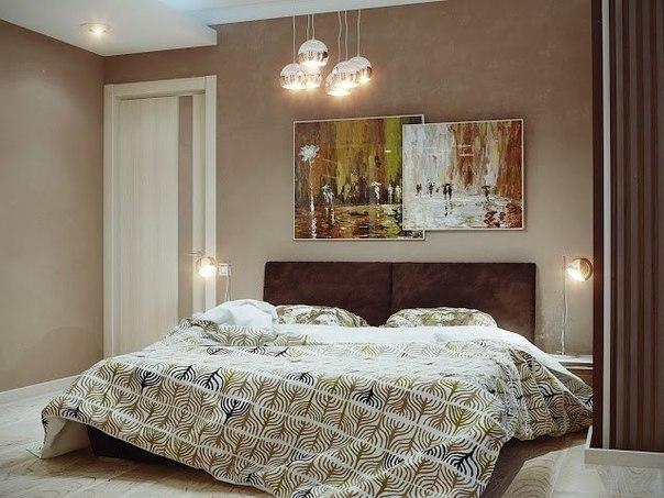 Спальня в теплых бежевых тонах