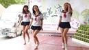 Japanese dancers in short dresses