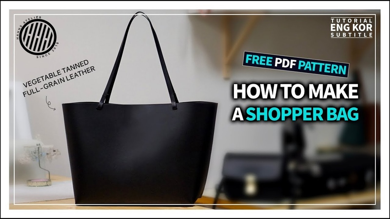 Leather Craft Making a hard type leather shopper bag Free pattern Tutorial