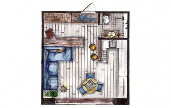 Интерьер маленькой квартиры в стиле лофт 33 кв.