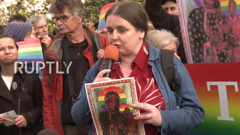 Poland: Protesters rally after woman arrested for posters of Virgin Mary with rainbow halo