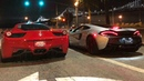 STREET RACE Ferrari vs Mclaren! HEADPHONE USERS BEWARE!! 570GT vs 458 Italia