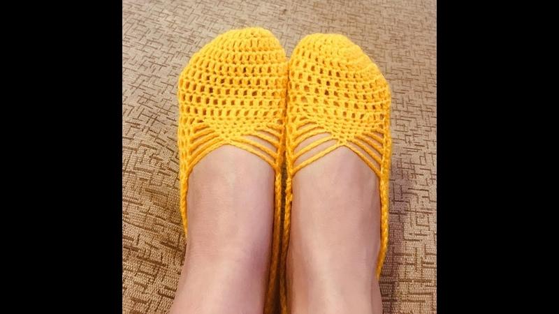 Вязание крючком. Вязанные следки. (Crochet. Knitted socks)
