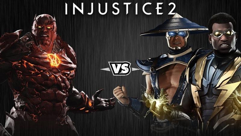 Injustice 2 Атроцитус против Рейдена и Чёрной Молнии Intros Clashes rus