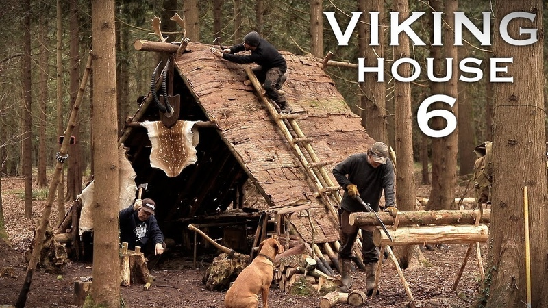 Building a Viking House with Hand Tools Bushcraft Project | Bark Roof (PART 6)