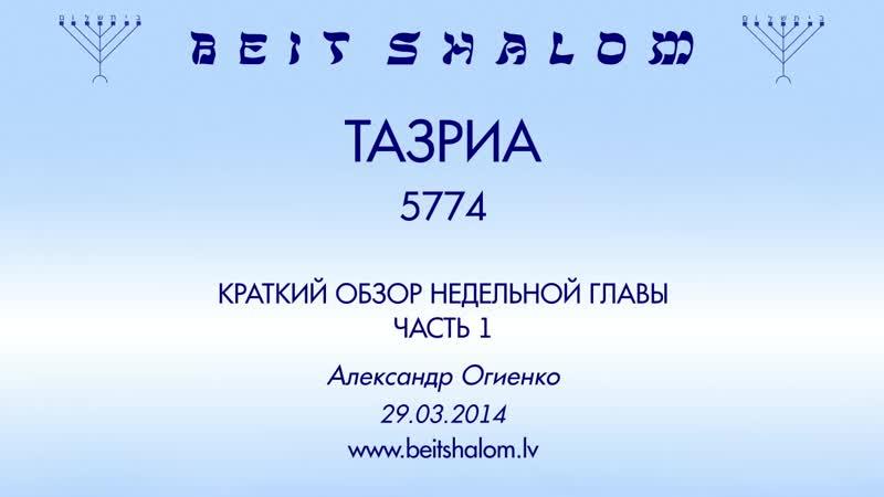 «ТАЗРИА» 5774 ч 1 «КРАТКИЙ ОБЗОР НЕДЕЛЬНОЙ ГЛАВЫ» А.Огиенко (29.03.2014)
